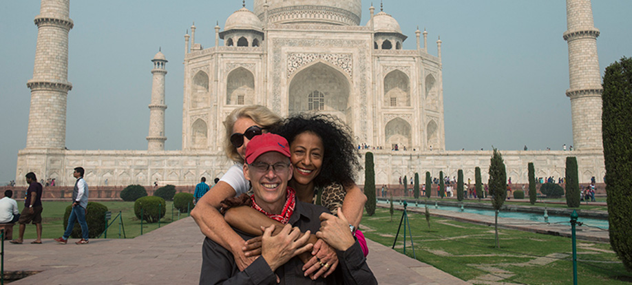 Renee and friends in front of the Taj Mahal